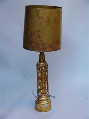 Chinese Godess Plaster Figure Lamp with