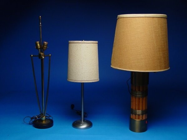 "1023: ""Three 1950's Style Lamps,Made of Bambo"