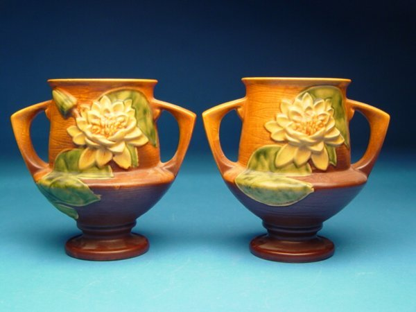 """3: """"Pair of Roseville Water Lily Vases #175-8"""