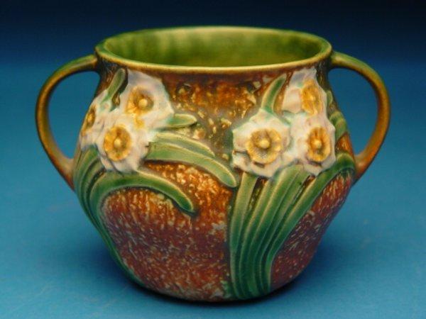 """4: """"Roseville Two Handled  Pottery Vase, Jonq"""