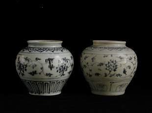 """Two Similar Vietnamese Jars 15th/16th Cen"