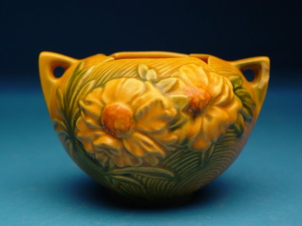 """7: """"Roseville Pottery Peony Vase, two handled"""