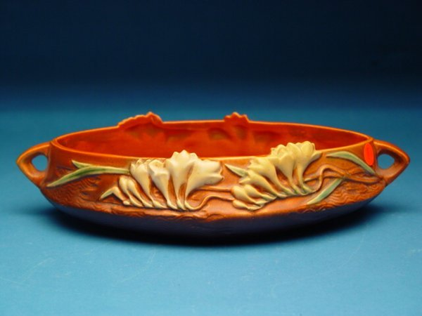 """8: """"Roseville Console Bowl Fresia pattern, #4"""