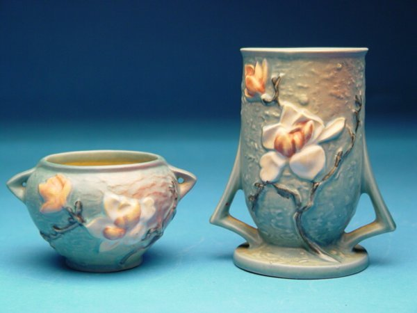 """17: """"Two Roseville Pottery Vases, Magnolia pa"""