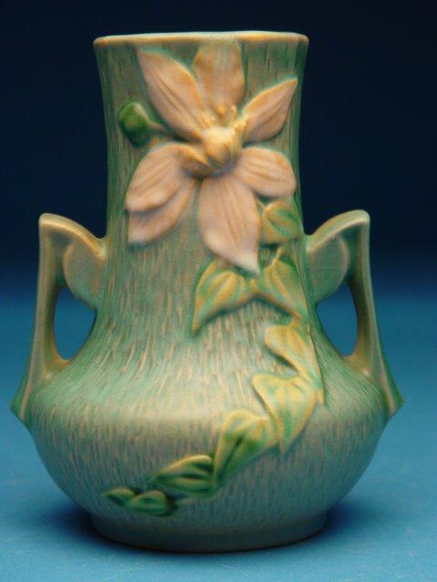 """18: """"Roseville Pottery Vase Clemetis pattern,"""