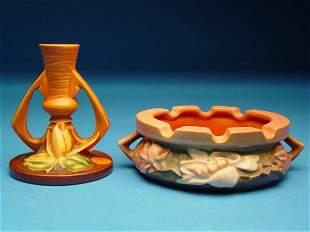 """""""Roseville Pottery Ashtray & Candlestick,"""