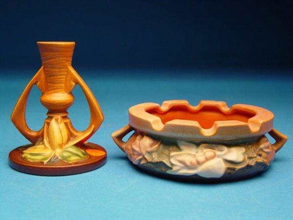 """19: """"Roseville Pottery Ashtray & Candlestick,"""