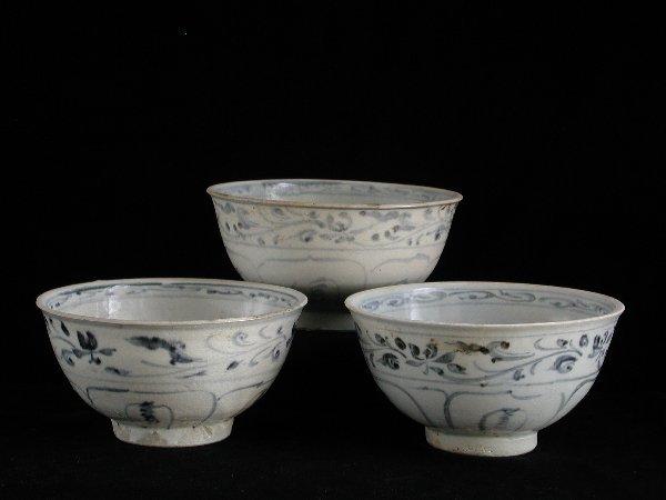 "20: ""Three Vietnamese Porcelain Bowls 15th/16"