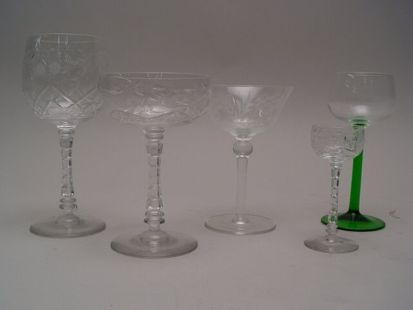 1100: Collection of Molded & Etched Stemware