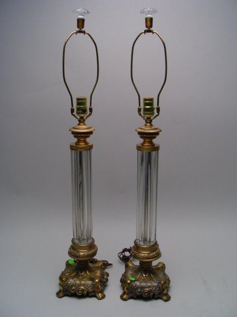 1109: Pair of Gilt Metal & Glass Columnar Lam