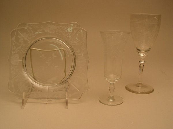 1120: Collection of Etched Crystal Stemware
