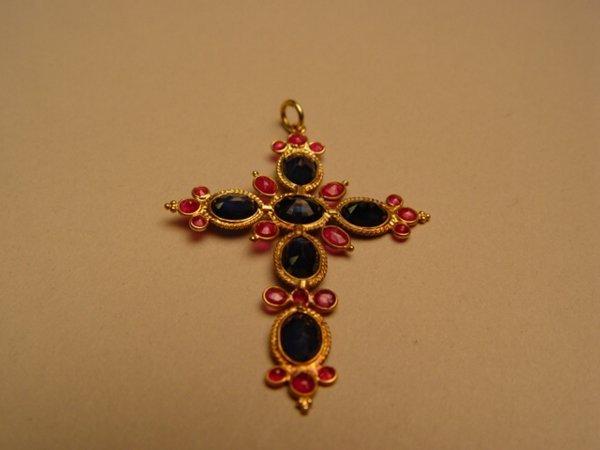 2006: Gold, Ruby & Sapphire Cross Pendant.