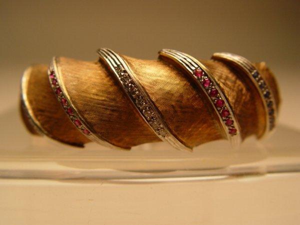 2007: Gold, Sapphire & Ruby Bangle Bracelet
