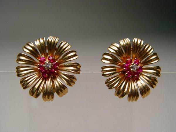 2008: Pair 14k Gold, Diamond & Ruby Earrings