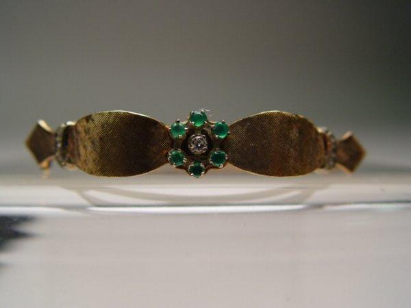 2009: 14k Gold, Emerald & Diamond Bangle Bracelet