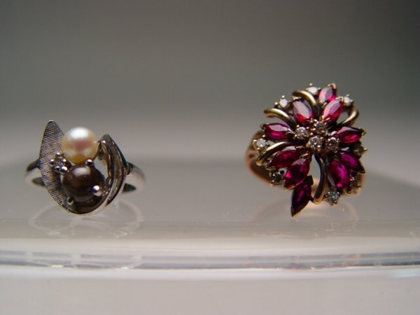 2013: Two Gold Rings Pearl, Ruby & Diamond