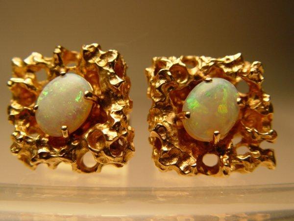 2023: Pair of 14k Gold & Opal Cufflinks