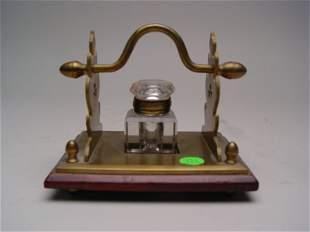 An English Brass Wood & Glass Inkwell