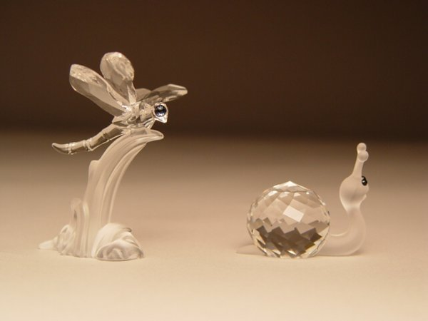 180: Swarovski Dragonfly & Snail Figurines