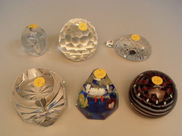 107: Group of Six Assorted Paperweights