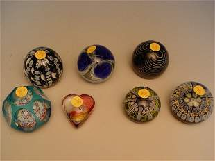 Group of Seven Assorted Paperweights