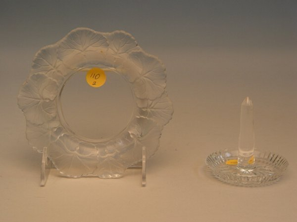 110: Lalique Glass Lily Dish & Waterford Ring Dish
