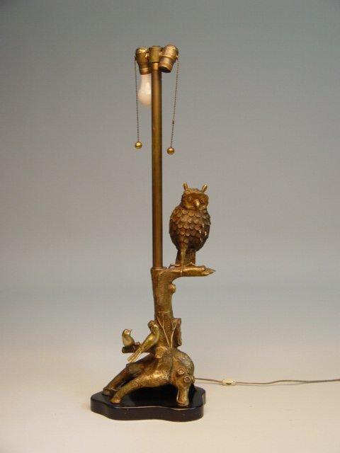 118: Brass & Metal Figural Owl Lamp