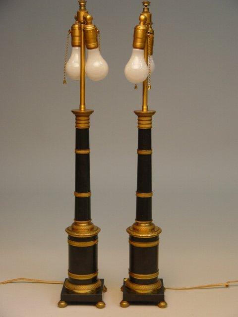 120: Pair of Austrian Brass Columnar Table Lamps
