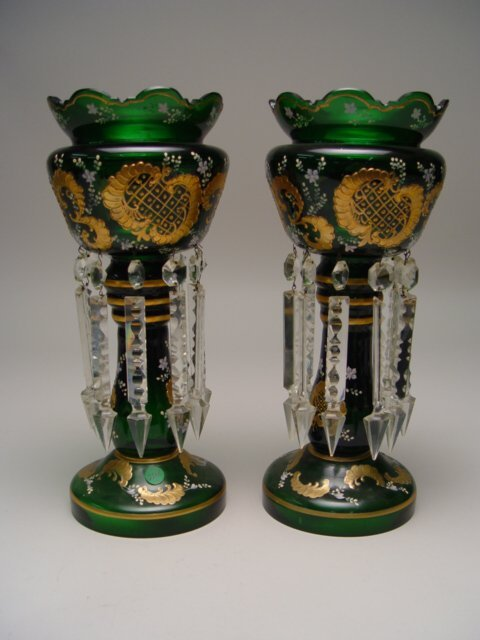 1030: Pair of Bohemian Green Glass Lustres