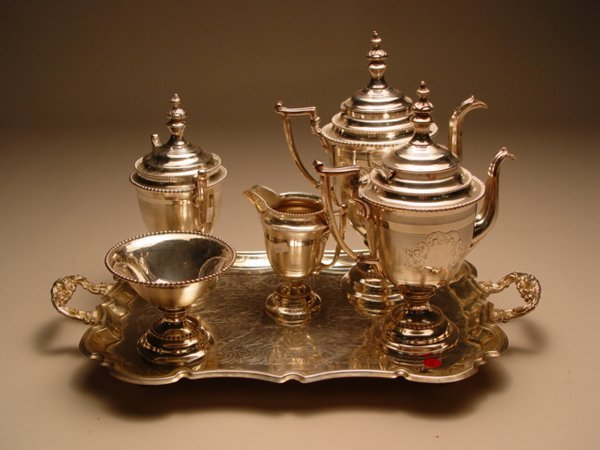 1006: 5pc Silver Plate Tea & Coffee Service