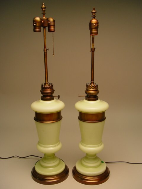 1023: Pair of Pale Green Opaline Table Lamps