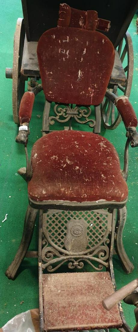 A 19th Century Barbers Chair.   (1) (3/4).