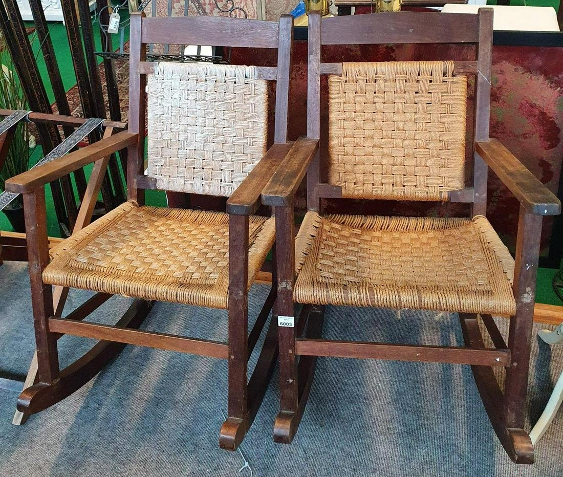 A pair of Arts and Crafts Rocking Chairs.  (2) (16).