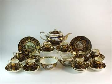 A Derby porcelain landscape service