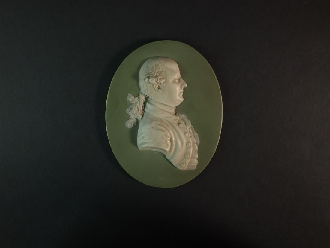 A Wedgwood green jasperware plaque of Thomas Bentley - 2