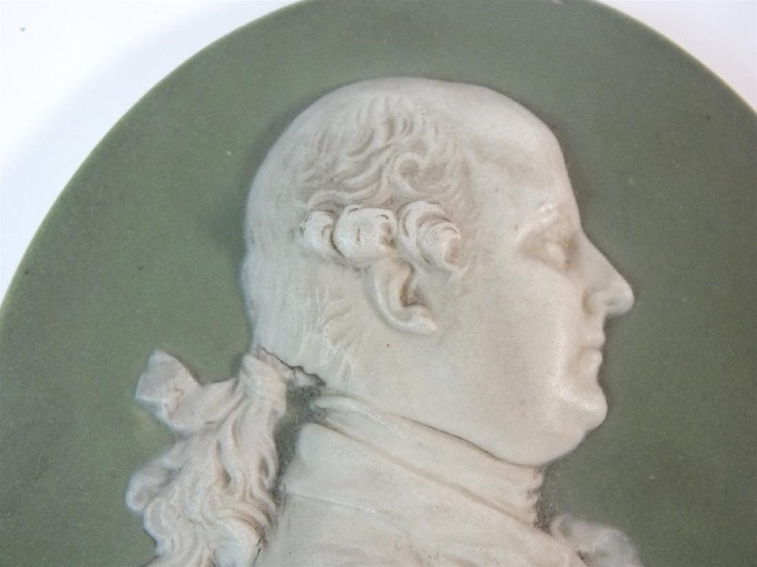 A Wedgwood green jasperware plaque of Thomas Bentley - 5