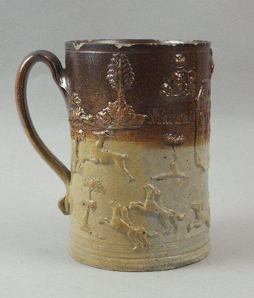 A two-tone London salt-glazed 'Type C' tankard, impress