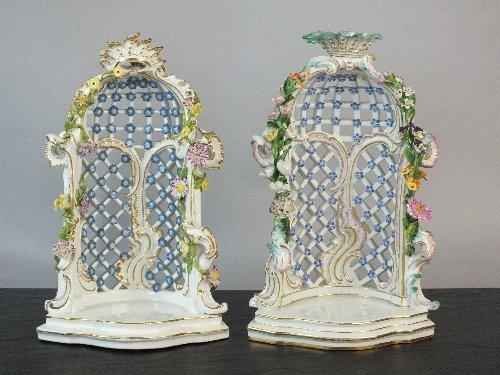Two Meissen porcelain trellis arbours, 19th century, mo