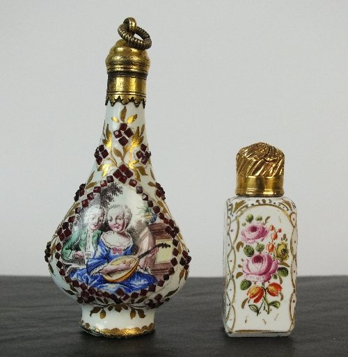 An 18th century German enamel scent bottle, decorated w