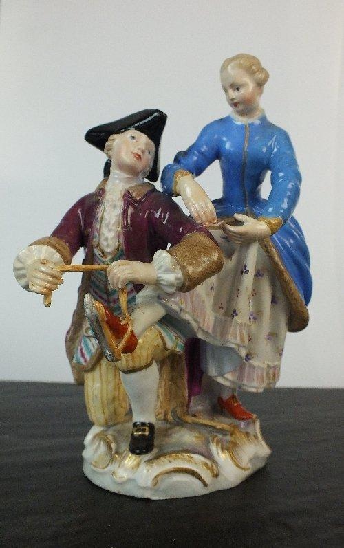 A Meissen porcelain figural group, circa 1870, colourfu