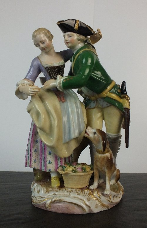 A Meissen porcelain figural group, late 19th century, m