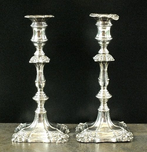 A matched pair of Victorian silver candlesticks, Samuel