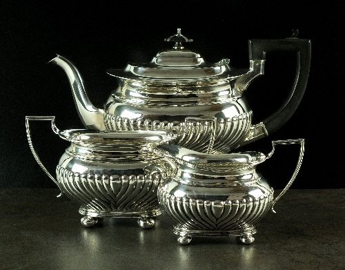A three piece silver tea service, Cooper Brothers &