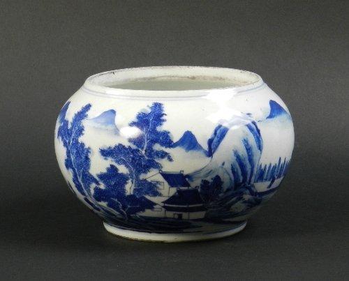 A Chinese blue and white porcelain globular brush