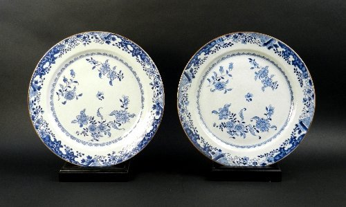 A near pair of Chinese blue and white export porcelain