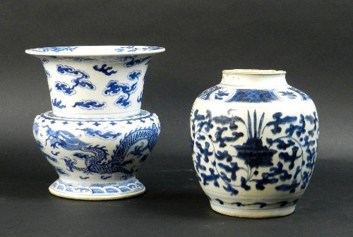 A Chinese Transitional blue and white provincial