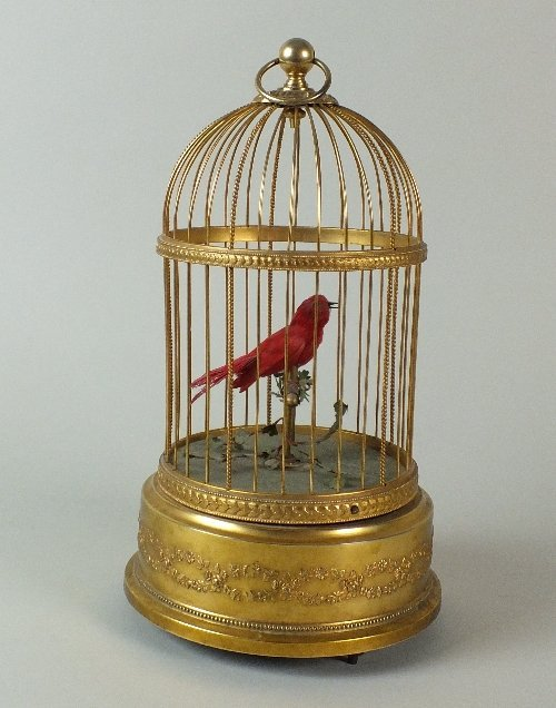 An early 20th century singing bird in cage automaton,