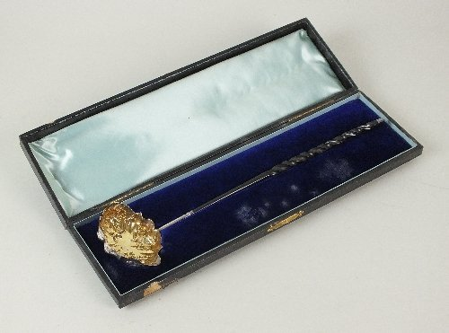 A cased George III silver toddy ladle, Charles Hougham,