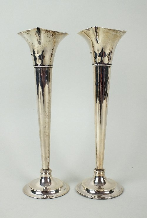 A pair of silver posy vases, J Sherwood & Sons,