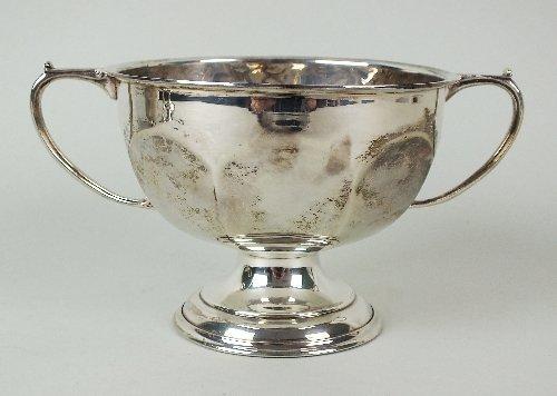 A two handled pedestal silver bowl, G W Aldridge,